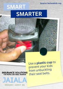 picture of the plastic cup in the seat belt